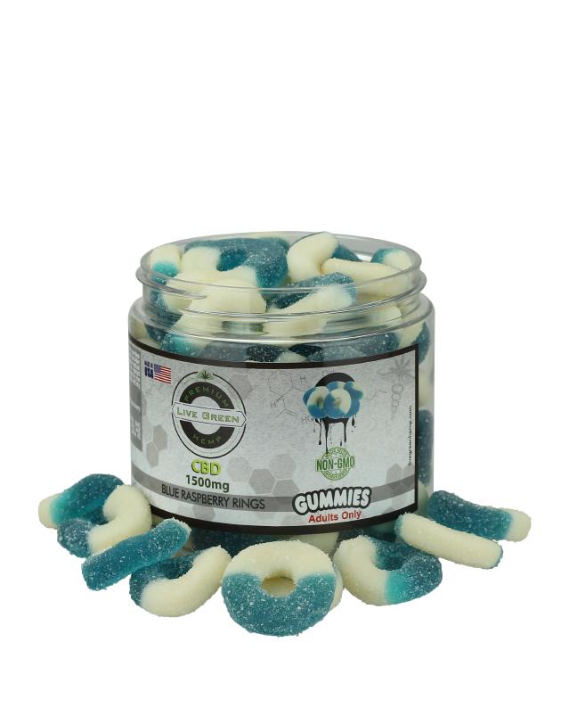 Live Green - Gummy Blue Raspberry Rings 1500mg
