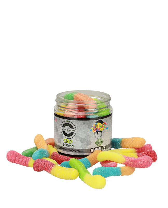 Live Green - Gummy Sour Worms 500mg