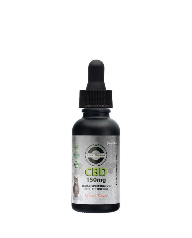 CBD Broad Spectrum MCT Oil THC-Free Pet Tincture for Cats Salmon 30ml 150mg