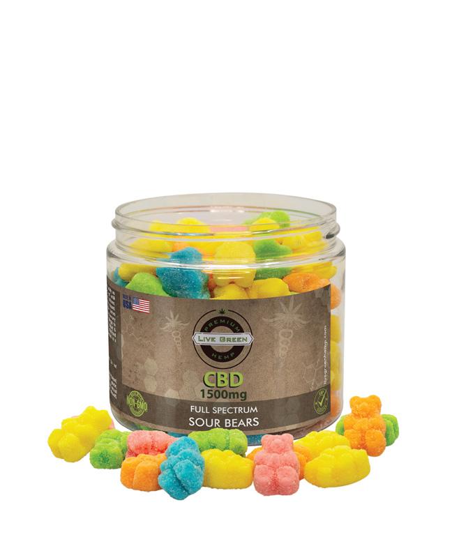 Live Green Full Spectrum Gummy Sour Bears 1500mg
