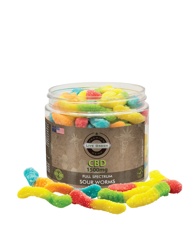Live Green Full Spectrum Gummy Worms 1500mg