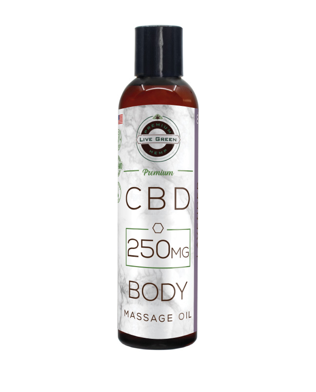 Live Green - Body Massage Oil 8oz 250mg - Lavender (Isolate)