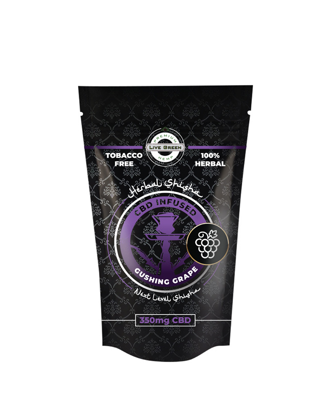 Live Green Herbal Shisha 350mg -   Gushing Grape