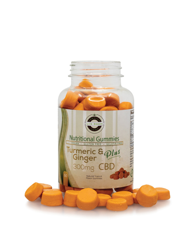 Live Green Nutritional Gummy Turmeric and Ginger