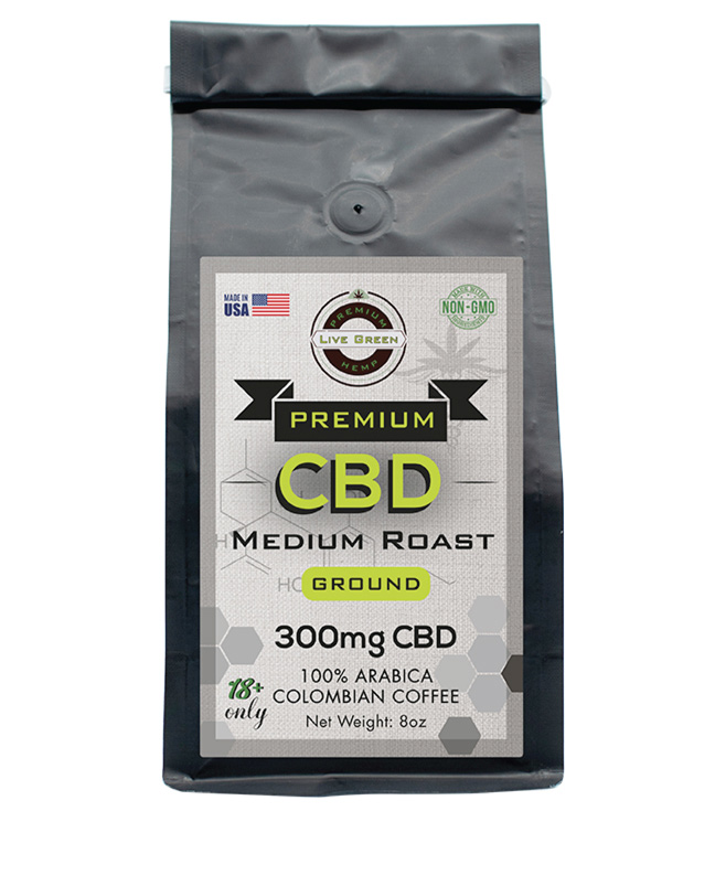 Live Green Ground Coffee Medium Roast 8oz 300mg