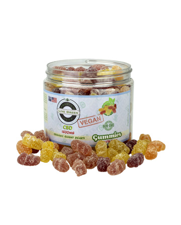 CBD Organic (Vegan) Gummy Bears 16oz 1500mg | Live Green Hemp