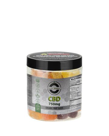 CBD Organic (Vegan) Gummy Fruit Slices 8oz 750mg   Live Green Hemp